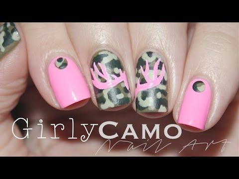 Girly Purple Nails Girly Camo   Nail Art