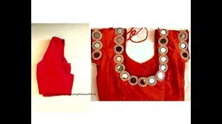 Turn Old blouse to New Mirror work designer blouse Simple and easy making at home