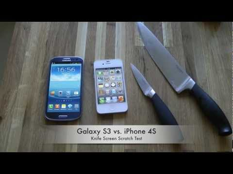 Samsung Galaxy S3 vs. Apple iPhone 4S - Knife Screen Scratch Test