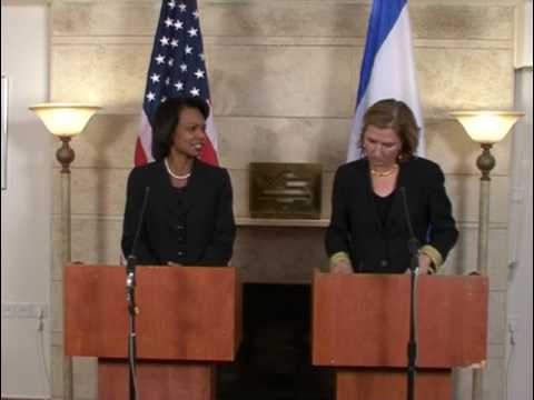 Secretary Condeleezza Rice and Foreign Minister Tzipi Livni in Fall 2008