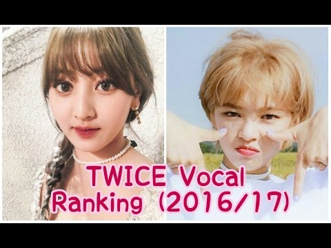 TWICE Vocal Ranking (2016/2017)