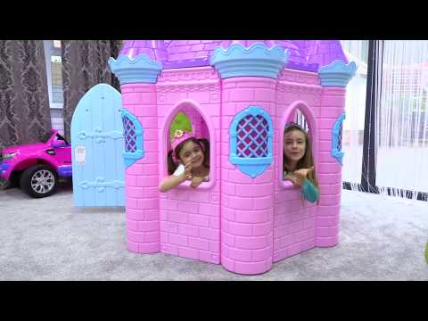 Playing with Disney Princess Dresses and Castle