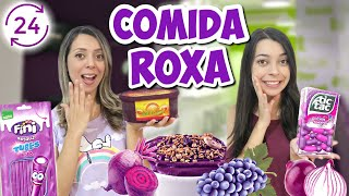24 HORAS COMENDO COMIDAS ROXAS 💜