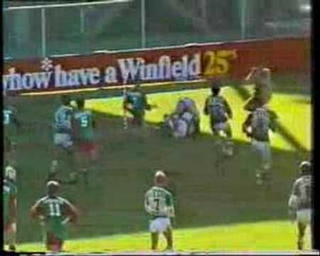 Big Gene Miles crashes over in the corner for the Wynnum/Manly Seagulls against the Ipswich Jets at Lang Park in 1987.