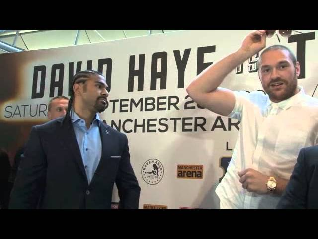 DAVID HAYE v TYSON FURY HEAD TO HEAD @ LONDON PRESS CONFERENCE / HAYE v FURY