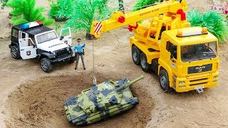 Police Car Chase Military Vehicles | Construction Vehicles Crane Truck and Disney Car Toys For Kids