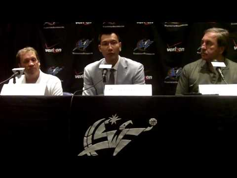 Yi JianLian introduced as the newest Wizard along with Coach Flip Saunders and Wizards GM Ernie Grunfeld.