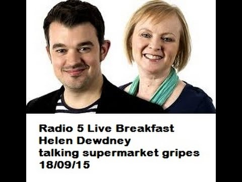 Radio 5live Breakfast Helen Dewdney talking supermarket tactics to make you buy more
