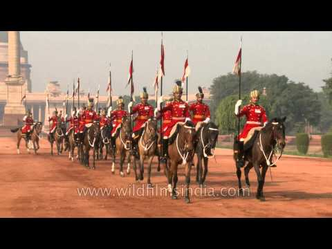 Guards on horse at the Changing of guards at Rashtrapati Bhavan