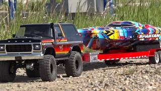 """1979 Ford Bronco Launches 2018 Speed Boat - Traxxas TRX4 & """"Rock n Roll"""" Spartan 