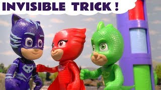 PJ Masks Invisible Game Mystery with Transforming HQ and Thomas and Friends - Kids Toy story TT4U