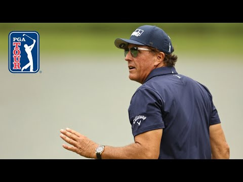 Phil Mickelson nearly holes approach from 118 yards on No. 18 at Travelers