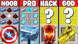 Minecraft Battle: AVENGERS ENDGAME CRAFTING CHALLENGE ~ NOOB vs PRO vs HACKER vs GOD –Animation