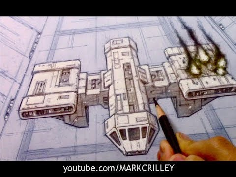 Drawing Time Lapse: Crashing Spaceship