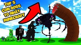 TOP 5 CON BOSS TO NHẤT MINECRAFT ! CON BOSS MẠNH NHẤT MINECRAFT (Oops Mazk Mineraft)