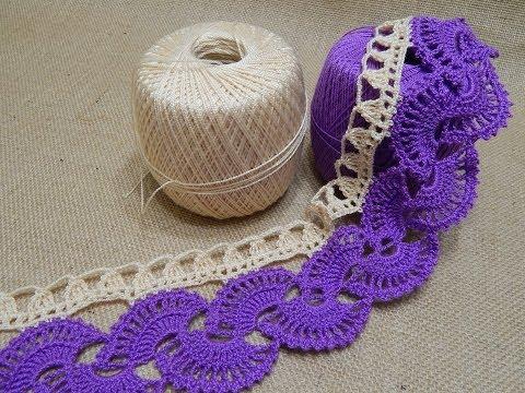 Orilla # 14 Abanicos dos colores Crochet parte 2 de 2
