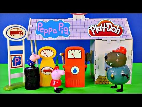 Peppa Pig 12 Piece Buildable Grandad Dogs Garage Playset Play Doh Peppapig Car Wash video