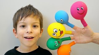 Kids Learn Colours with Balloons & Finger Family Song - Learning Video