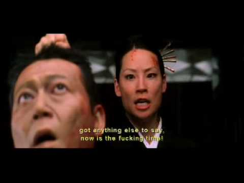 Lucy Liu (O-Ren-Ishi) severs a head in Kill Bill vol 1