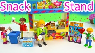 Playmobil Snack Food Stand Playset Toy Review & Surprise Mystery Figure Blind Bag Opening