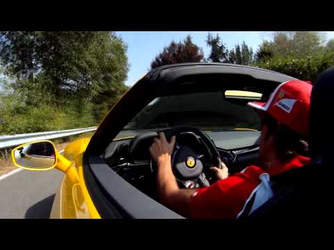 Fernando Alonso drives Ferrari 458 Spider
