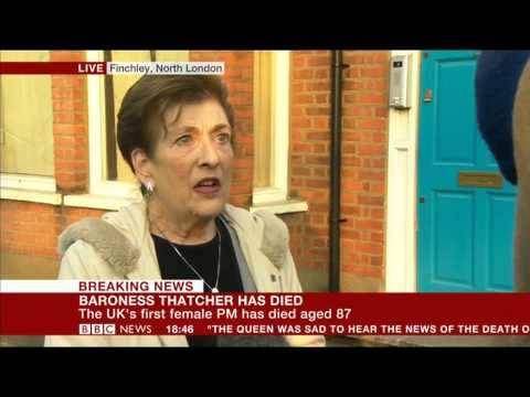 Reaction to the sad news of Lady Thatcher's passing on 8 April 2013 via BBC News 24. Footage from outside of Finchley and Golders Green Conservative Associat...