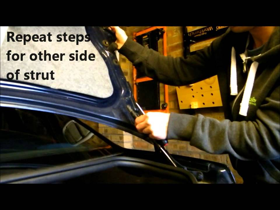 How to change (install) a trunk strut lift on a Volvo S40 - YouTube
