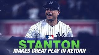 Giancarlo Stanton makes great defensive play in return for Yankees