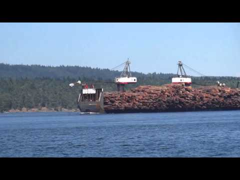 Tugboat Towing Huge Log Barge