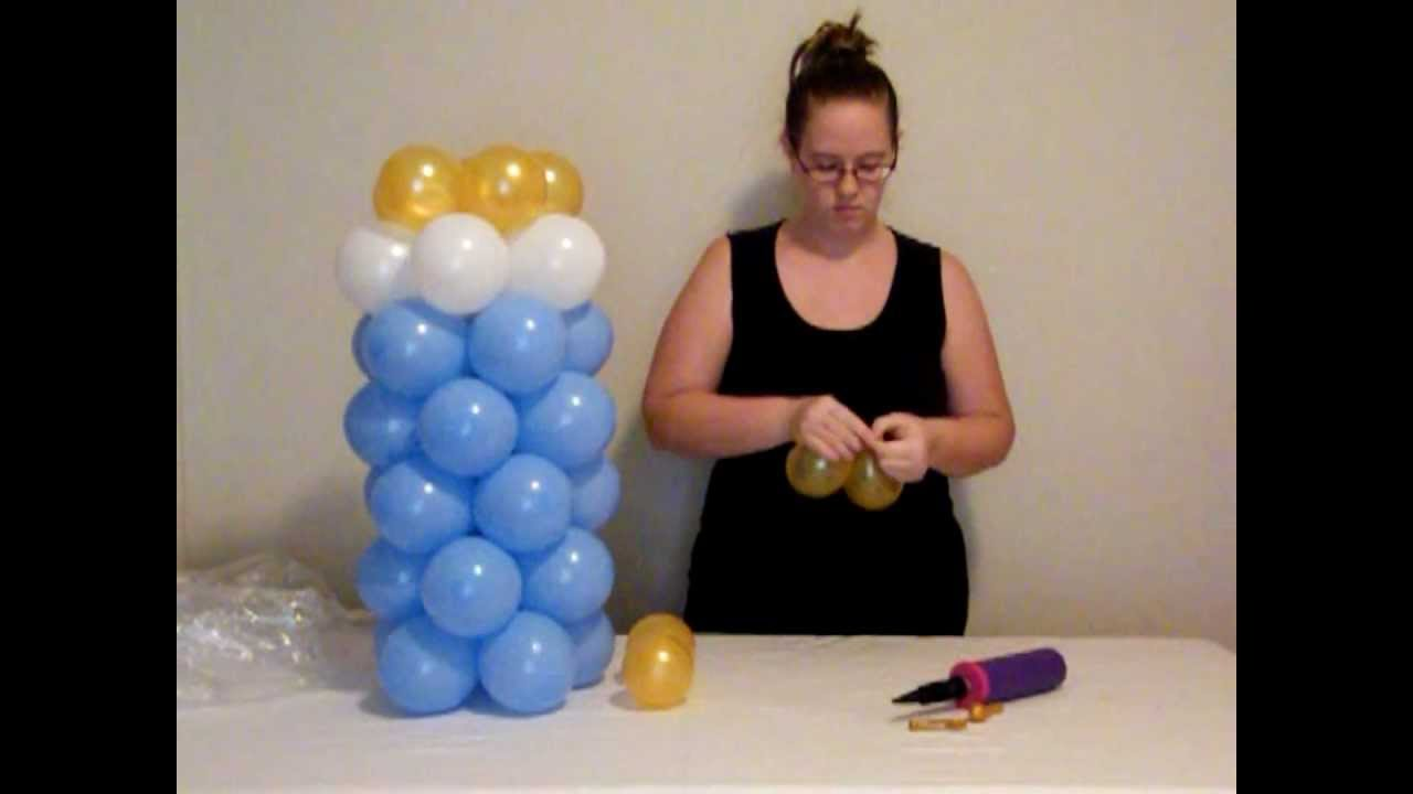 How to make balloon baby bottle youtube for Balloon baby shower decoration