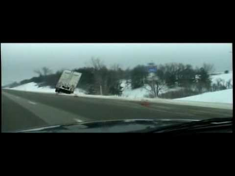 Semi / Car Accidents on Interstate 80 in Iowa Winter Storm 2008