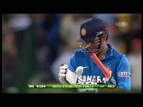 Ms Dhoni's 112m Six Vs Australia At Adelaide video