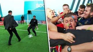 Matt Le Tissier v Sean Delaney | Penalty, volleys, free kick & crossbar challenge | Soccer AM Pro Am