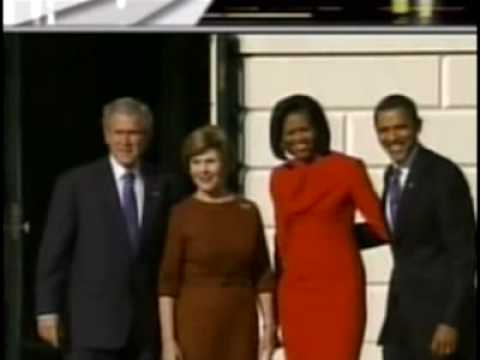 Barack & Michelle Obama meets George & Laura Bush at the White House Today Video