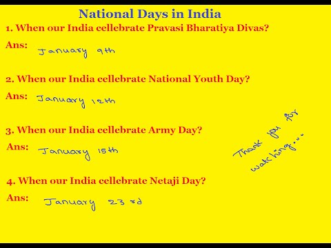 General Knowledge Questions And Answers | National Days in India | Pravasi Bharatiya Divas