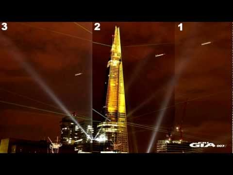 UFO FAST over  London Shard, 3 different pictures, July 5, 2012