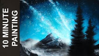 Painting a Night Sky with Acrylics in 10 Minutes!