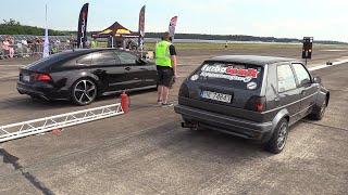 730HP VW Golf 2 1.8T vs Audi RS7 Sportback