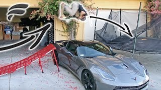 FLIPPING OVER $70,000 CAR TO TRAMPOLINE!