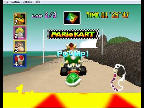 Mario Kart N64 Extracc Game Play Koopa Troopa Beach (Bowser)