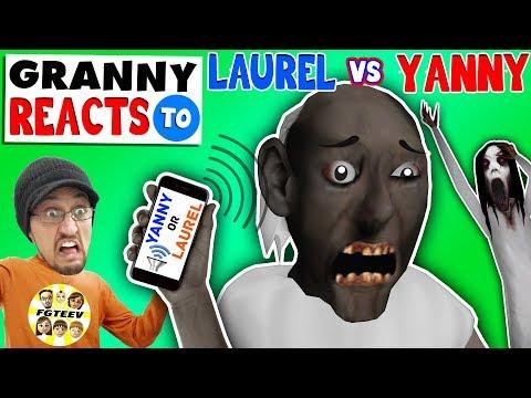 GRANNY REACTS 2 YANNY or LAUREL while playing FORTNITE (FGTEEV SLENDRINA SKIT)