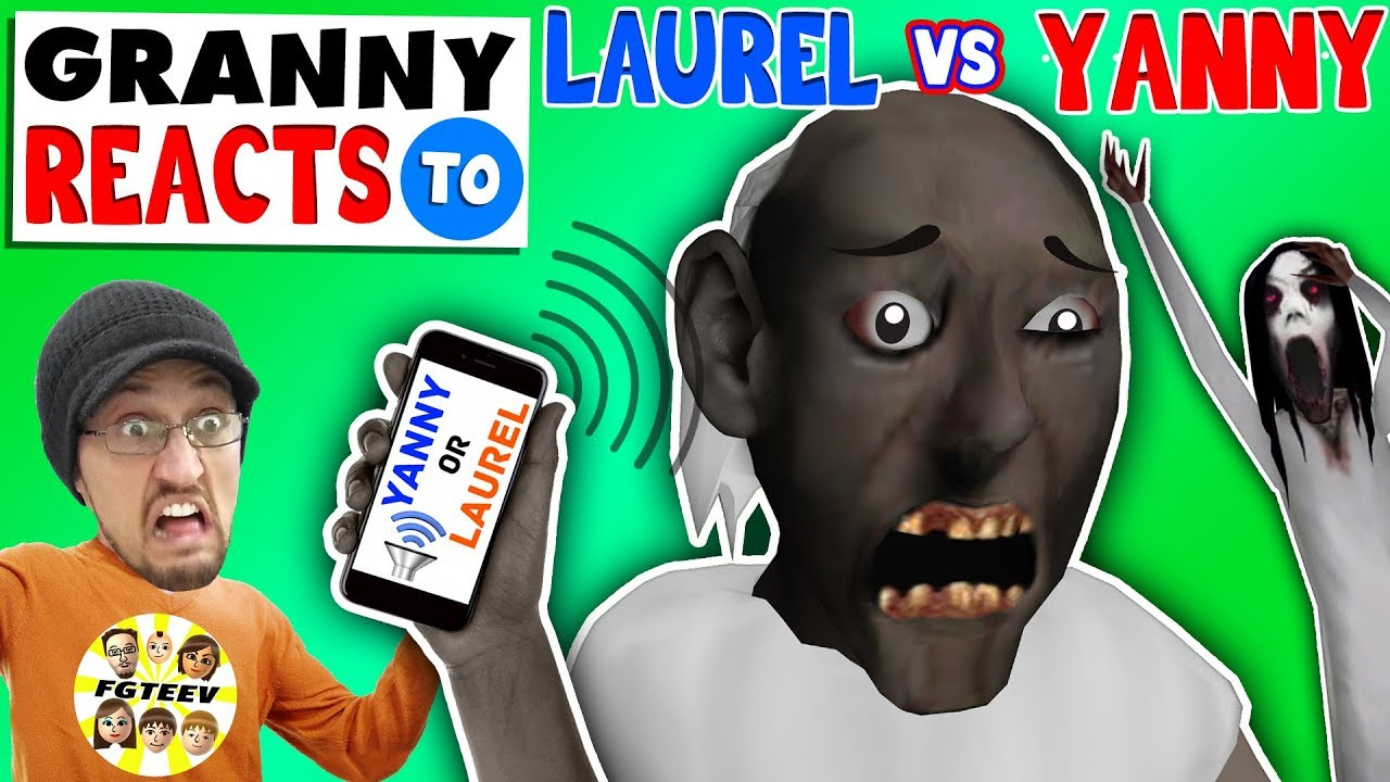 "GRANNY REACTS 2 ""YANNY or LAUREL"" while playing FORTNITE (FGTEEV SLENDRINA SKIT)"