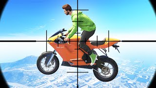 SNIPE THE FLYING BIKERS! (GTA 5 Funny Moments)