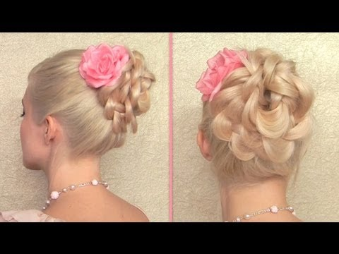 Easy Prom, Wedding Hairstyle Braided Flower Updo For Long Hair Tutorial video