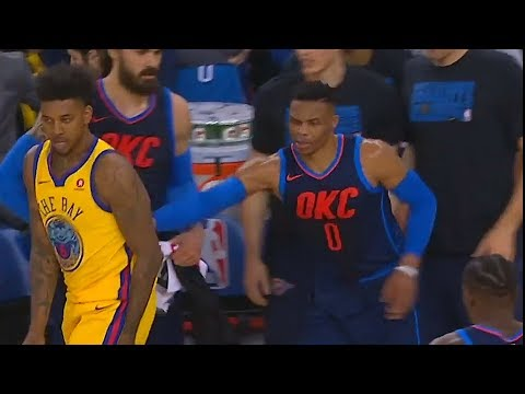 Russell Westbrook Shoves Nick Young for Taunting and Celebrating in front of Thunder Bench!