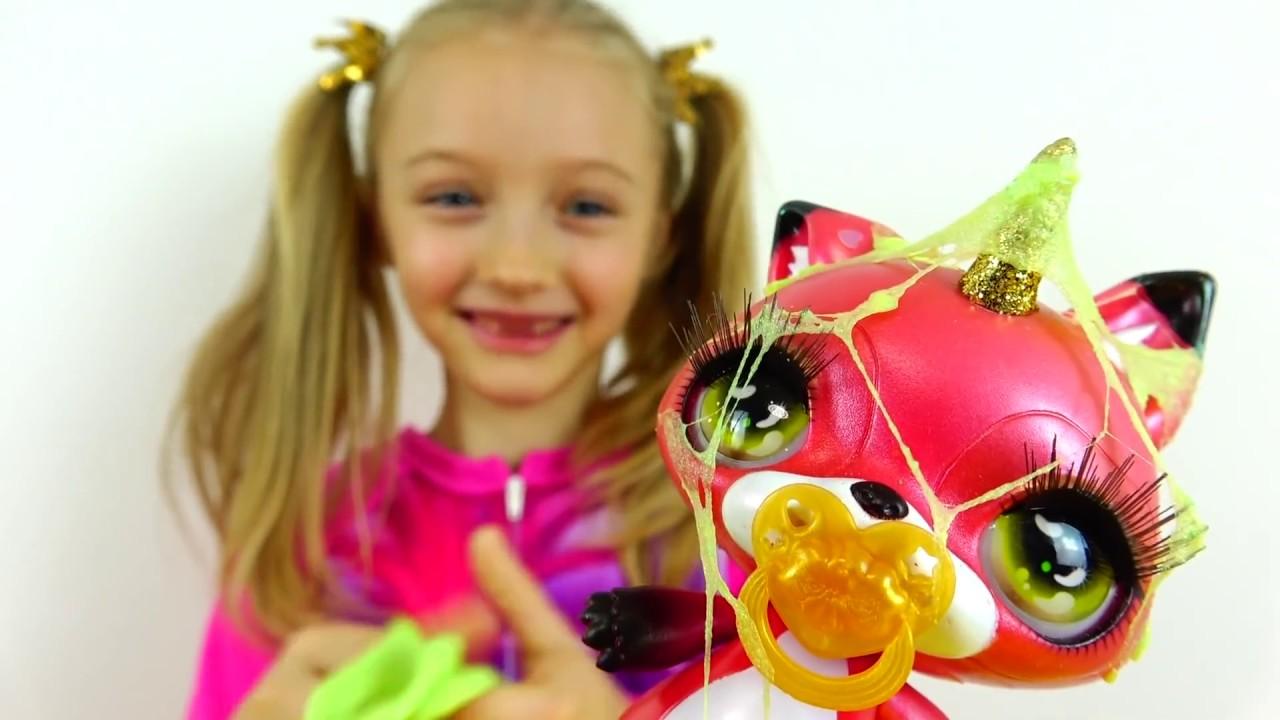 Игрушка Единорожка Полина играет с Poopsie Sparkly Critters