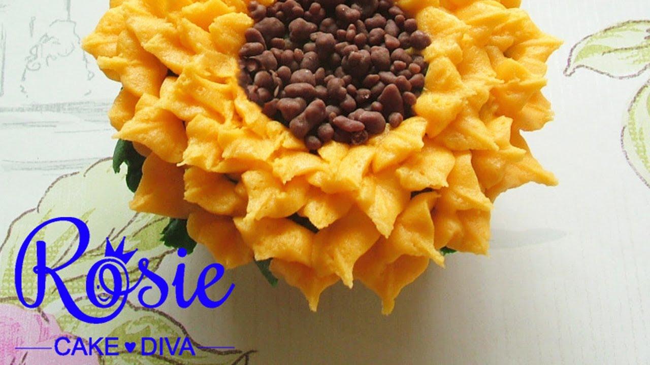 Buttercream Sunflower Cupcakes Tutorial - YouTube