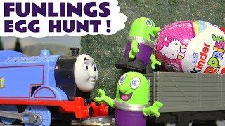 Funny Funlings Kinder Surprise Egg Hunt with Thomas The Tank Engine & Hulk - Fun kids toy story TT4U
