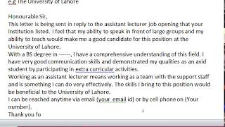 Write a Formal Job Application - Job application letter for teacher