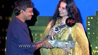 Raveena Tandon, Rekha, Ram Gopal Varma and Manoj Bajpayee at Silver Jubilee party of film Satya
